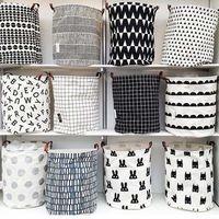 Wholesale baby grid - Hot design Grid Batman Pattern Handbag Baby Kids Toy Clothes Canvas Laundry Basket Storage Bag With Handles Room Decor