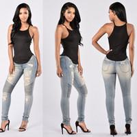 yüksek belli seksi kot pantolon toptan satış-Bayanlar Stretch İnce Denim Düz Biker Skinny Jeans Boyut S-2XL Ripped Seksi Skinny Jeans Bayan Yüksek Waisted Slim Fit Kot Pantolon Ripped