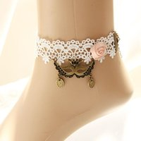 Wholesale Dangle Ankle Bracelets - Stylish Ladies Women Lace Flower Mask Crown Ankle Anklet Masquerade Party Lolita Resin Beads Dangle Chain Foot Bracelet Barefoot Sandals