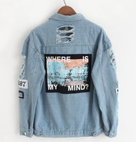 Wholesale Winter Jackets Wind Woman - Sell well kanye west Japanese vetements winter hip hop wind pink aape yeezus beggars hole letter stickers denim jacket men and women jeans