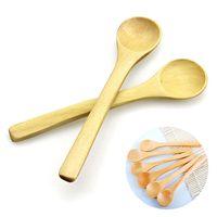 Wholesale Bamboo Cooking - Wholesale- 2017 New Mini Wooden Spoon Kitchen Cooking Teaspoon Condiment Utensil Coffee Spoon Kids Ice Cream Tableware Tool 6 PCS Set