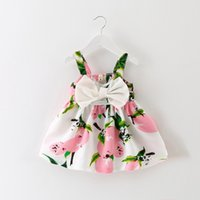 Wholesale Pageant Girl Clothes - 2017 summer new girl children's clothing Fashion Print Big Bowknot suspender Dress Elegant Pageant Wedding Bridal Tulle Formal Party Dress