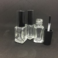Wholesale glass nail polish bottle 5ml - 5ml Square Glass Empty Bottle With Brush Transparent Makeup Tool Nail Polish Containers Clear Glass Glue Bottle For Sample