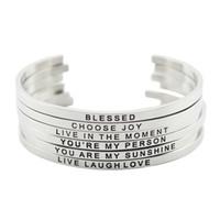 braceletes inspirados para homens venda por atacado-Nova chegada! Aço Inoxidável 316L Gravado Positivo Citações Inspiradas Manguito Mantra Pulseira Bangle para mulheres homens