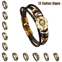 Wholesale Wooden Bead Bracelets For Men - Hot Zodiac Signs Bracelets For Women & Men Genuine Leather Handmade Bracelet Wooden Bead + Black Gallstone Charm Jewelry 12 pcs set
