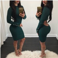 Wholesale High Neck Night Party Dress - Dark Green Cotton Sexy Women Party Dress Real Image High Neck Long Sleeves Button Backless Sheath Sexy Women Night Out Club Dress 2017
