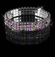 Wholesale Earrings Multi Bracelets - Cute Colorful Bracelet Bling Bling 3 Row Multi-color Rhinestone Bracelets Stretch Bangle Prom Evening Wedding Party Jewelry Bridal Accessory