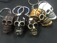 ingrosso portachiavi testa testa del cranio-SPEDIZIONE GRATUITA 12 PZ Yqtdmy Vintage Imitazione Misto Colore Gotico Cranio Testa Biker Keychain