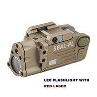 Wholesale Tan Tactical Lights - Tactical Gun Lights SBAL-PL White Light LED Gun Lights With Red Laser For Standard Pistol Rails or M1913 rail Tan Color