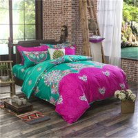 Wholesale King Duvet Cover Cotton Green - 100% Cotton Polyester Flower Printed Bedding set Bed Sheet Duvet Cover Oriental Vintage Style Bed Linen Bedclothes Cover