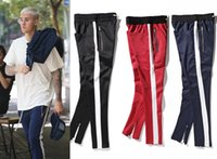 Wholesale Hip Hop Pants Clothes - New side zipper pants hip hop Fear Of God Fashion urban clothing red bottoms justin bieber FOG jogger pants Black red blue
