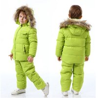 Wholesale White Overalls Baby Boy - Wholesale- Children Winter Down Jacket Boys Warm Outerwear Coats Girls Clothing Set 1-6 Years Kids Ski Suit Jumpsuit For Boys Baby Overalls