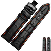 Wholesale 24mm Watch Strap Orange - KASSLLE Leather Watch Bands,Great Replacement Watch Strap 20mm 21mm 22mm 23mm 24mm Orange Line For Men And Women ,Black Buckle