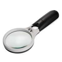 Atacado- 45X 3 LED Light Handheld Magnifier Leitura Lupa Lens Jóias Lupa Watch Repair Tool