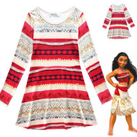 Wholesale Wholesale Exotic Clothing - 2017 Spring Autumn Girls Long Sleeve Dresses Kids Moana Clothing Children Cartoon Dress Girl Exotic Dress