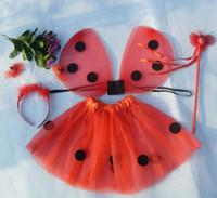 Wholesale Headband Ladybug - Wholesale- Cute Ladybug 4pc Set (Wings,Tutu,Headband,Wand) Kids Girls Halloween Costume Red