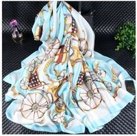 Wholesale White Elegant Scarves - Beautiful Silk Scarves 180x90cm ELEGANT LADY Upper Class Women's Scarves and Wraps Shawls Pashmina Hijabs Luxury Brand Scarves Real Silk sca