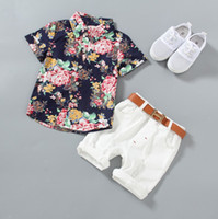 Wholesale Chic Baby Clothes - Baby boys 2pc set summer outfits short sleeve flower shirt+cotton torn pants Toddlers fashion floral summer suits kids chic casual clothing