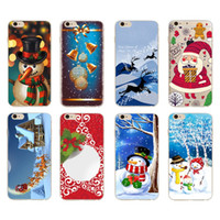 Wholesale Crystal Elk - Merry Christmas Santa Claus Elk Paint Case Crystal Clear TPU Soft back silicone Cover Skin shell for iPhone 7 plus 6 6s Plus 5S iphone 8