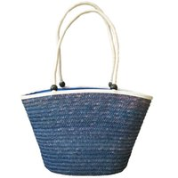 Wholesale Hobo Hand - Brand shoulder bag blue fashion bag Hand made braided straw bag free shipping Easy to match