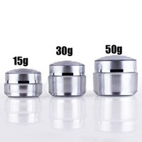 Wholesale Acrylic Powder Containers - 300pcs 30g Acrylic Plastic Silver Cream jar and Small Cosmetic Powder container for Beauty package Free Shipping