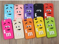 Wholesale Iphone 4s Case Rainbow - Fragrance M&M'S Chocolate 3D Cartoon Candy Rainbow Beans Soft Silicon Rubber Case for Samsung S5 S6 iPhone 4s 5S SE 6 6S Plus