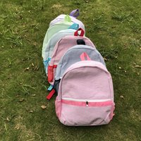 Wholesale Blank Fabrics - Wholesale Blanks Newly Designer seersucker Cotton Fabric Zipper Closure Kids School Soft Backpack in Five ColorsDOM103031