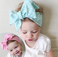 Wholesale Princess Photographs - Hot Sell Adorable Baby Girls Headbands 9 Styles Photograph Collocation Princess Girls Headband Bowknot Dots Striped Printed Headbands Q0861
