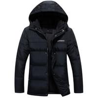 Wholesale Trendy Down Jackets - Wholesale- Men's Down Jacket 2016 Fashion Trendy Thick White Duck Down Winter Jacket Men Khaki Black Turn-Down Collar Warm Coat Parka