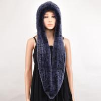 Wholesale Black Rex Rabbit Fur Scarf - Thick autumn winter warm real rabbit fur scarf and hat Women with a hood rex rabbit fur scarf fur hat