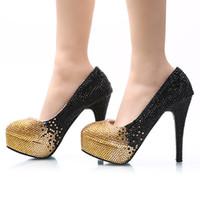 schwarze abendschuhe kristalle großhandel-Schwarzes Gold Ombre Kristall bördelte Cinderella-Schuhe Handgemachter Abschlussball-Abend-hohe Absätze, die Rhinestones Brautbrautjungfern-Hochzeits-Schuhe bördeln 024