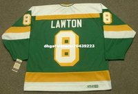 Commercio all'ingrosso personalizzato Throwback Mens BRIAN LAWTON Minnesota North Stars 1985 CCM Vintage Throwback Cheap Retro Hockey Jersey