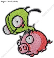 """Wholesale Iron Patch Pig - 3"""" Invader Zim Animated TV Series Gir on Pig Figure applique sew on  iron on patch Wholesale Free Shipping"""