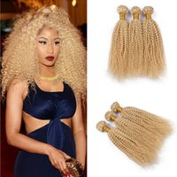 3Pcs Lot Platinum Blonde Russian Kinky Curly Virgin Hair 3 Bundles Pure # 613 Blonde Afro Kinky Curly Human Hair Weaves Extensions Dhl Free