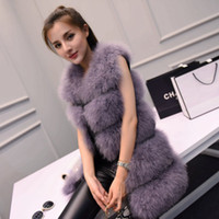 Wholesale Ostrich Vests - Autumn winter new women's luxury real natural ostrich fur medium long vest sleeveless fur coat leather patchwork warm casacos XS-2XL