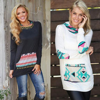 Wholesale Plaid Womens Shirts Long Sleeves - Womens Long Sleeve Printed attached pocket Blouse Bodycon hooded Crew neck Shirt Autumn Top Long T-Shirt NEW