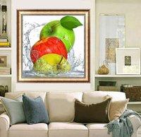 красно-зеленые желтые яблоки оптовых-Зеленый красный желтый 3 яблоки фрукты DIY 5D алмазный стежок круглый 3D Алмазный стежок инструменты комплект алмазная мозаика Декор комнаты