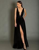 Wholesale Necklace Prom Dresses - black velvet sexy split A-line evening dresses 2018 deep plungin v necklace floor length party evening gowns