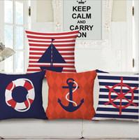 Wholesale Boat Throw Cushions - nautical anchor cushion cover striped boat throw pillow case sea blue almofada 45cm decorative cojines modern home decor