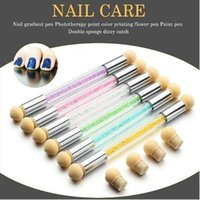 Wholesale Shade Gel - UV Gel Painting Nail Gradient Shading Pen + 4 Sponge Head Double-ended Acrylic Nail Brush Nail Art Sponge Brush Manicure Tool CCA7699 100pcs