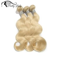 Wholesale pretty virgins - Wholesale-Pretty Lady Hair Products Bleached Blonde Color #613 Platinum Blonde Body Wave Brazilian Virgin Human Hair extensions 3pcs lot