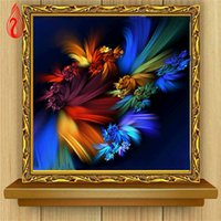 Wholesale Oil Painting Single Flowers - YGS-345 DIY 5D Diamond Embroider The Abstract Flowers Round Diamond Painting Cross Stitch Kits Diamond Mosaic Home Decoration