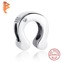 Wholesale Pandora S925 - BELAWANG Wholesale 925 Sterling Silver Alphabet U Letter S925 CZ Beads Charms fit Pandora Bracelets & Necklaces Fashion Jewelry Making