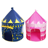 Wholesale Cartoon Outdoor Games - High Quality Children Beach Tent Prince And Princess Palace Castle Children Playing Indoor Outdoor Toy Tent Cartoon Game House Toy Ten JC114