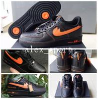 Wholesale Low Cut Skating Shoe - 2017 Classic Men Athletic Vlone Ultra 1 Low Skate Sneakers Shoes Adult Black Orange Casual Trainers 40-45