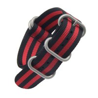 Wholesale watch stripes free resale online - Stripe Quality Nylon Nato Straps Watch Band with Silver Rings mm mm mm mm