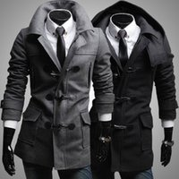 Wholesale Cashmere Overcoats Men - Wholesale- New 2016 Winter Mens Designer Clothing Cashmere Thick Trench Coat Wool Jacket Warm Windbreaker Men Overcoat Casacos DFBTC005