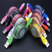 Wholesale Usb Flat Cable Smile - 1M 3ft LED light Visible Micro USB V8 Cable Retractable Charging Data Sync Cables Smile face Flat Noodle Sync Data For Smart Phone