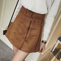 Wholesale Mini Jupe - New Fashion Suede Skirts Women Spring Saias High Waist A Word Skirt Oblique Zipper Mini Skirt Large Size Jupe Female Faldas
