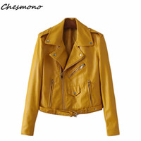 Wholesale Ladies Sexy Leather Jacket - Wholesale- Women candy color PU faux leather short motorcycle jacket oblique zippers pockets sexy punk coat lady casual outwear tops casaco